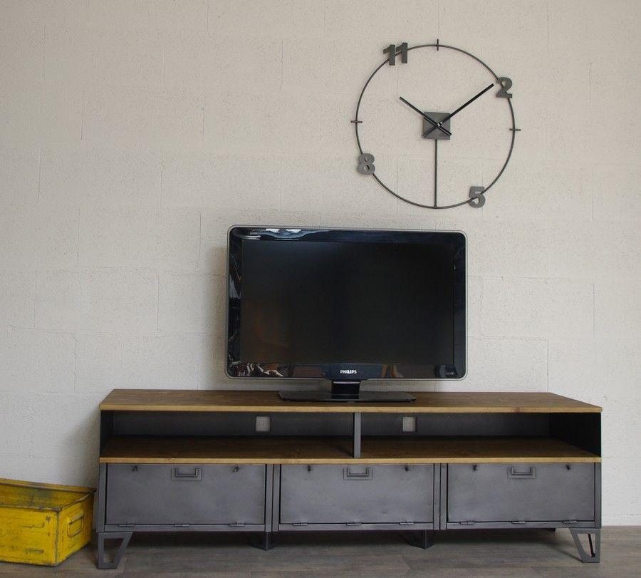 Meuble tv style industriel 3 clapets et niche 180cm cr ation restauration de meuble - Restauration meuble industriel ...