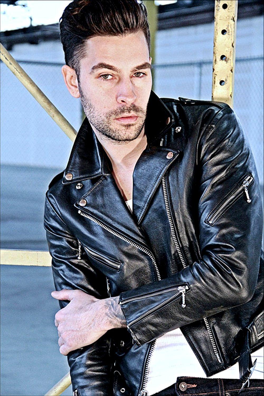 Black Leather Biker Jacket Photo Veste en cuir, Veste