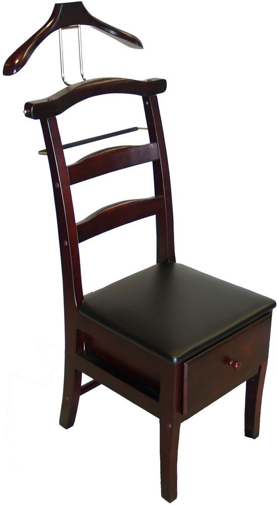 Mahogany Chair Stand Valet Suit Rack Hanger Organizer Clothes Butler Wood Master Bedroom Furniture Classic Chair Chair