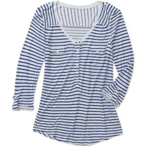 Women's Striped Henley with Roll-Cuff Sleeves