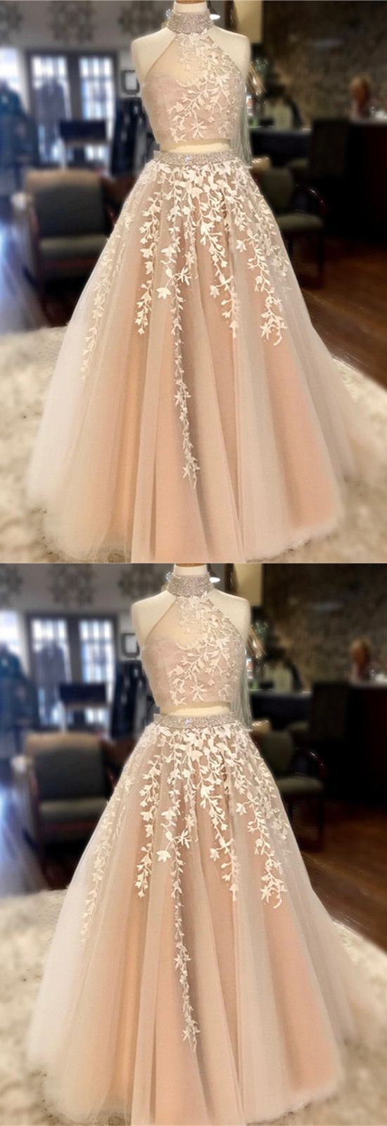 Wedding dress high neck open back  High Neck Open Back Tulle Prom Dresses Two Piece Quinceanera Dress