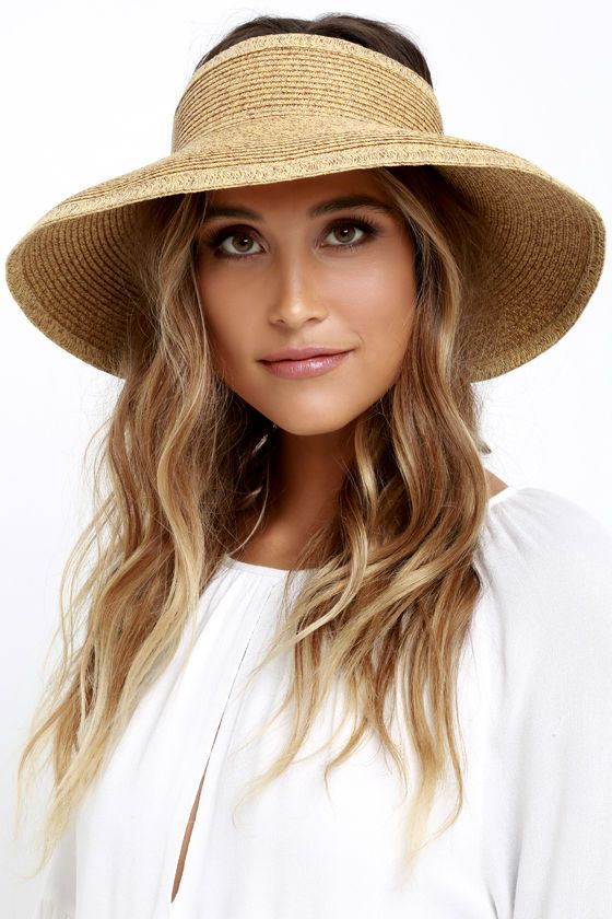 44f4246fea4 Protect yourself from sun rays all while looking fab in the San Diego Hat  Co. Shade Stunner Beige Straw Visor! This woven travel-friendly visor  unrolls from ...
