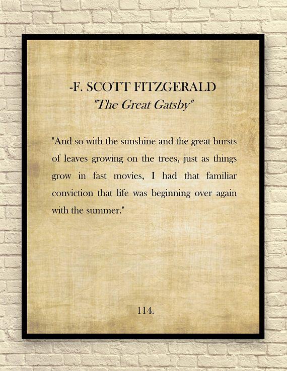 The Great Gatsby Art Print F. Scott Fitzgerald Quote Custom | Book ...