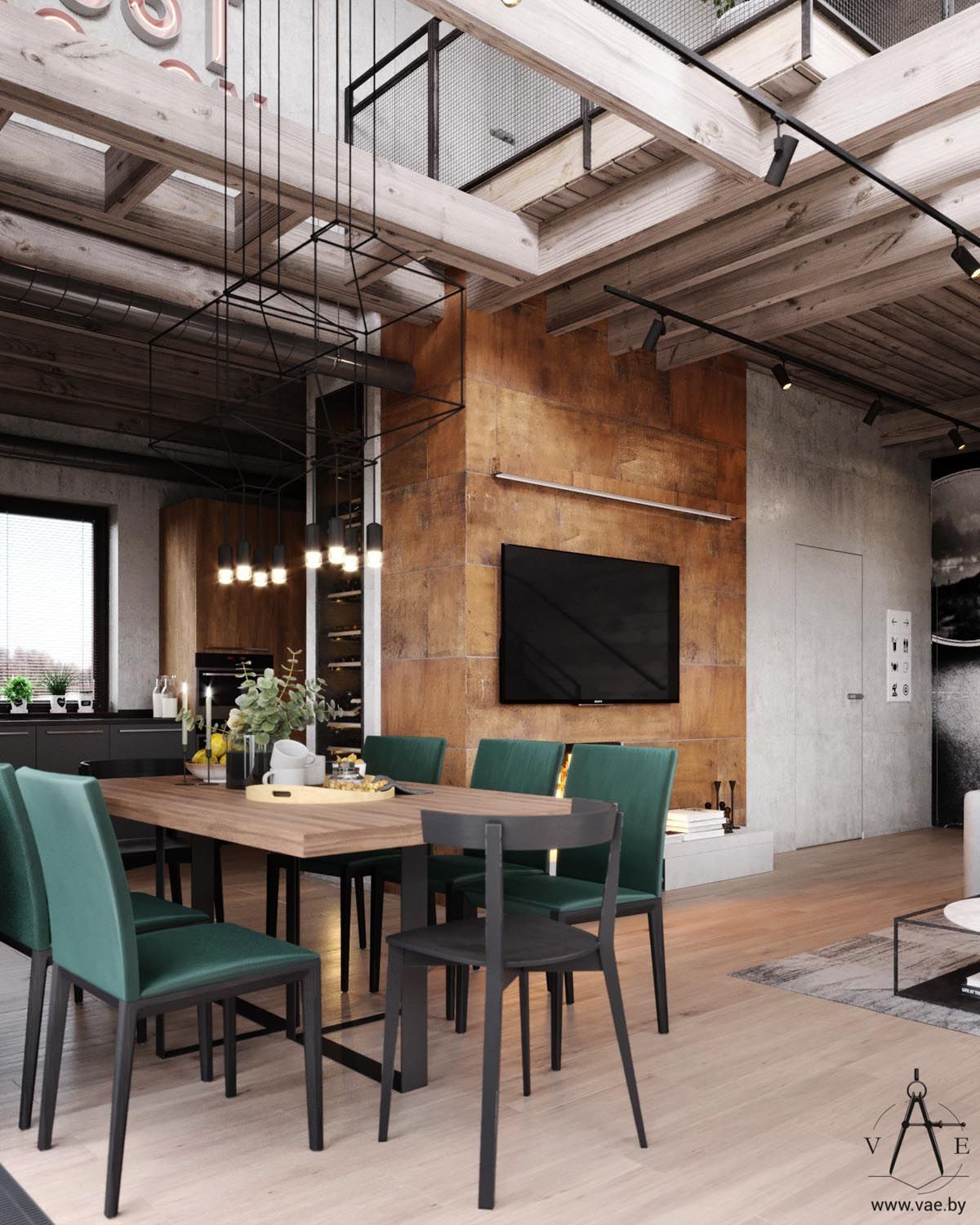 Warm Industrial Style House With Layout Industrial Interior