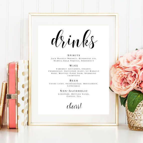 Wedding bar menu sign Drinks wedding sign Wedding drink menu - bar menu template