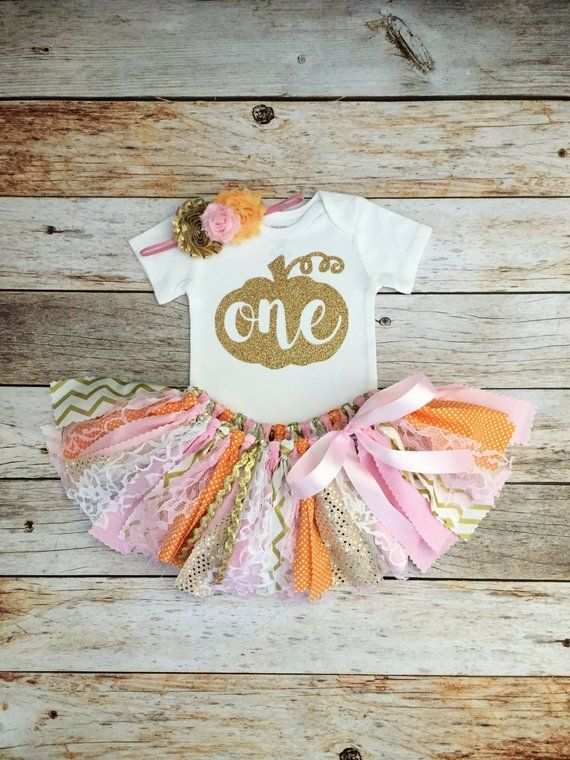 Pumpkin Fall Birthday Outfit with Headband, Pink Orange and Gold Fall Birthday Outfit, Pumpkin Birth #birthdayoutfit