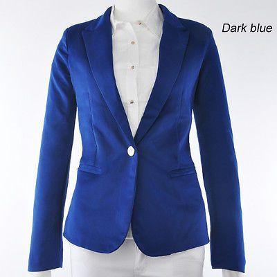 New Fashion Candy Color Basic Slim Foldable Suit Jacket Blazer XS S M L