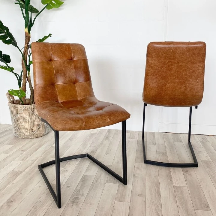 Standford Brown Leather Dining Chairs Pair In 2020 Leather Dining Chairs Dining Chairs Leather Dining