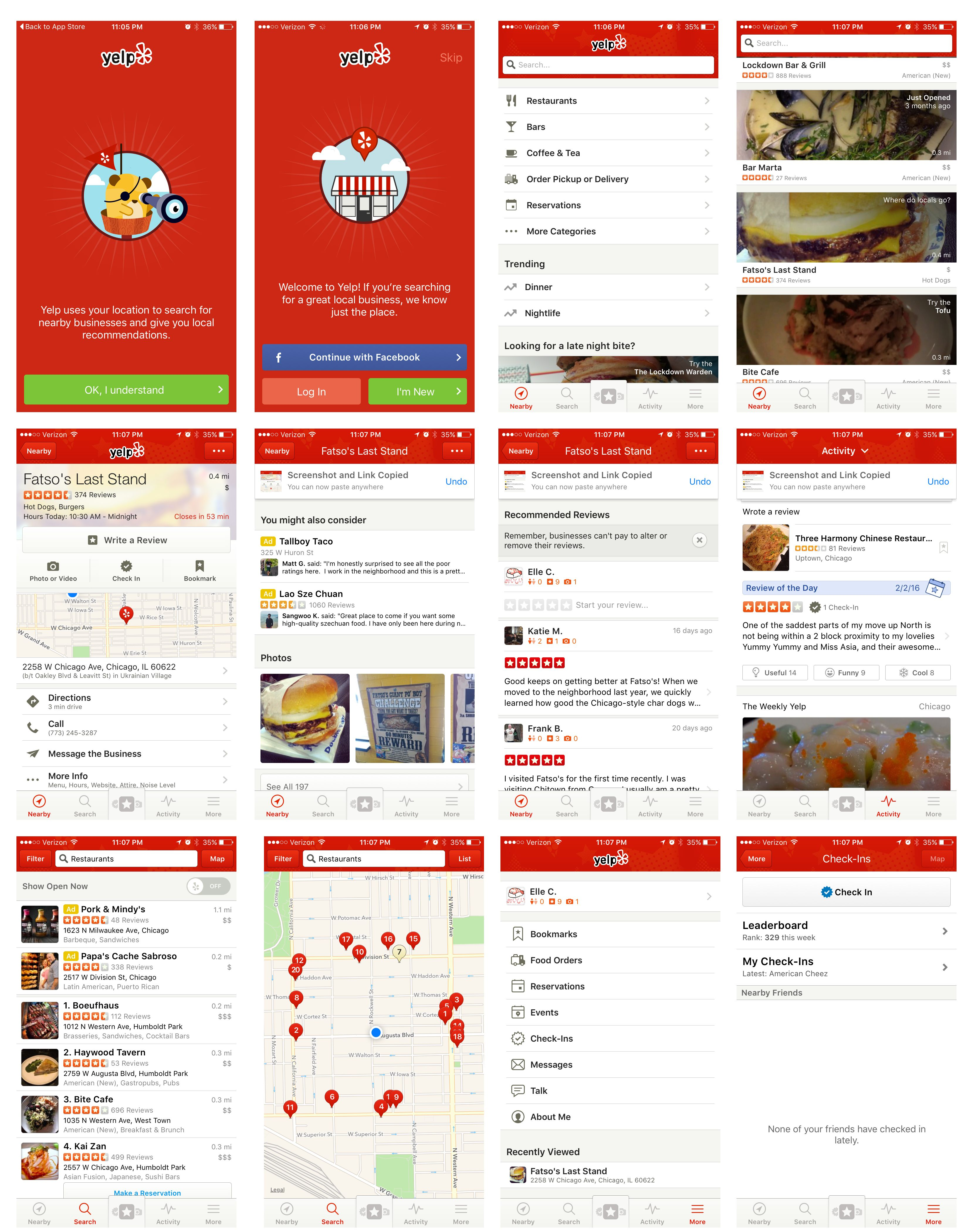 yelp app screen capture ART Web Design Art web