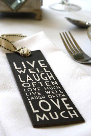 Glamorous Live Laugh Love Bookmark Wedding Favour