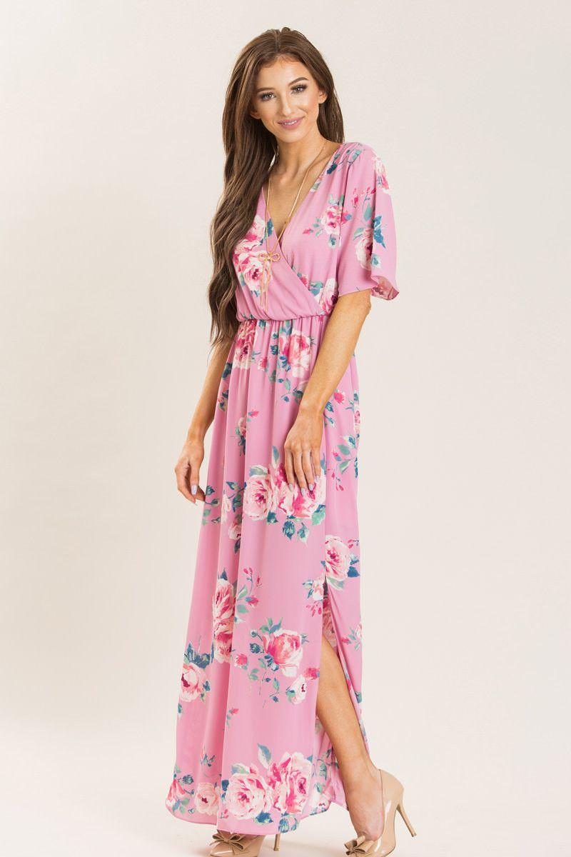 Penelope Pink Floral Print Maxi Dress - Morning Lavender | Clothing ...