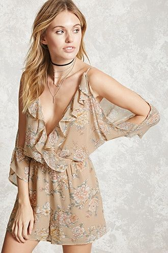 ed67f47dbd8 Forever 21 Contemporary - A semi-sheer woven romper featuring an allover  floral print