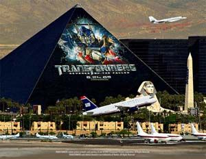Huge building wrap on the side of the Luxor, Las Vegas
