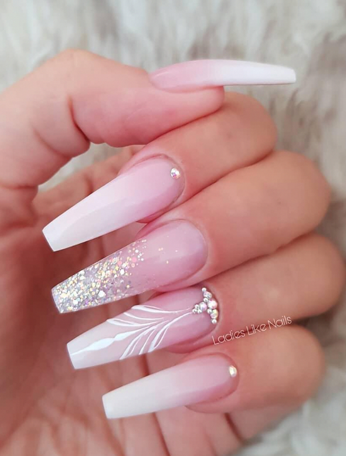 coffin nails rhinestone, bling coffin nails, coffin nails pink, acrylics nails c… – Coffin nails designs