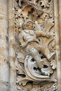 ancient art featuring what many think this looks like an astronaut