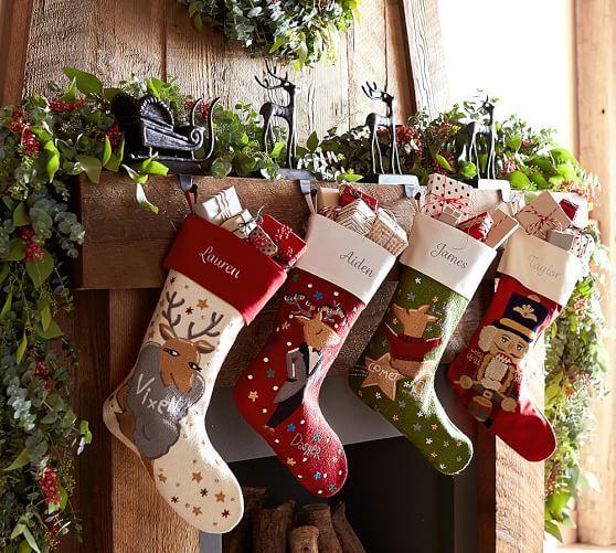 Santa S Sleigh Stocking Holders Christmas Stockings Personalized Family Christmas Stockings Berry Garland