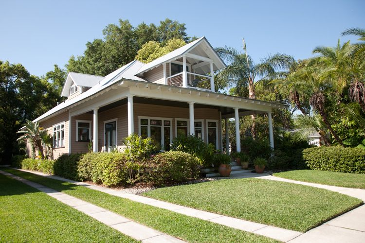 A new home designed and constructed in an traditional for Florida cracker style homes