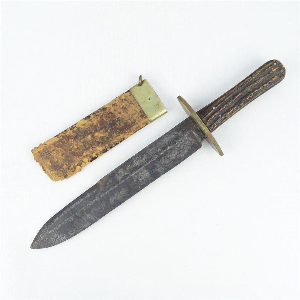 Antique Civil War Era Sheffield Bowie Knife Id D Aaron Gale Ohio