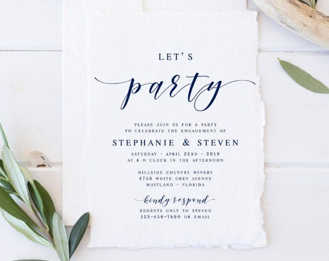 Navy lets party modern engagement party invitation template navy lets party modern engagement party invitation template engagement announcement template modern calligraphy template stopboris Images