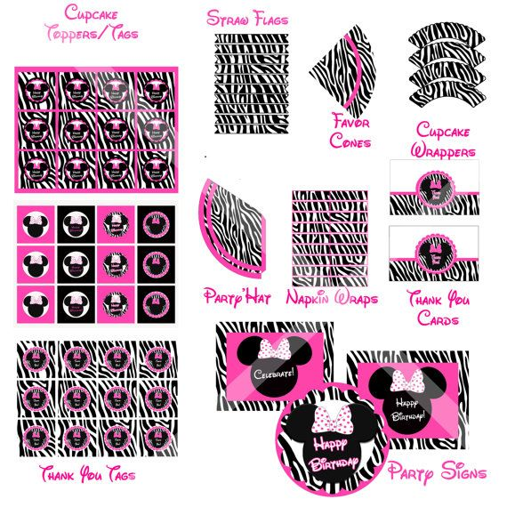 Minnie Mouse Zebra Print Baby Shower: 50 Off DIY Printable Minnie Mouse Inspired Zebra By