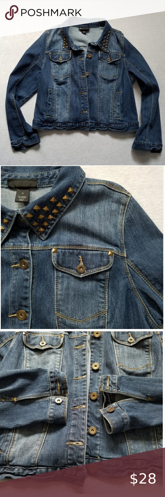 Lane Bryant Jean Jacket Cropped Studs Rivets 18 Jean Jacket Jackets Lane Bryant [ 1740 x 580 Pixel ]