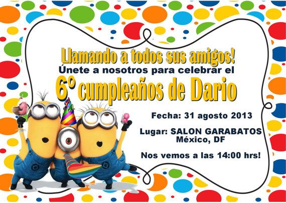 Spanish Despicable Me Inspired Invitation By Pinkinkpartyboutique