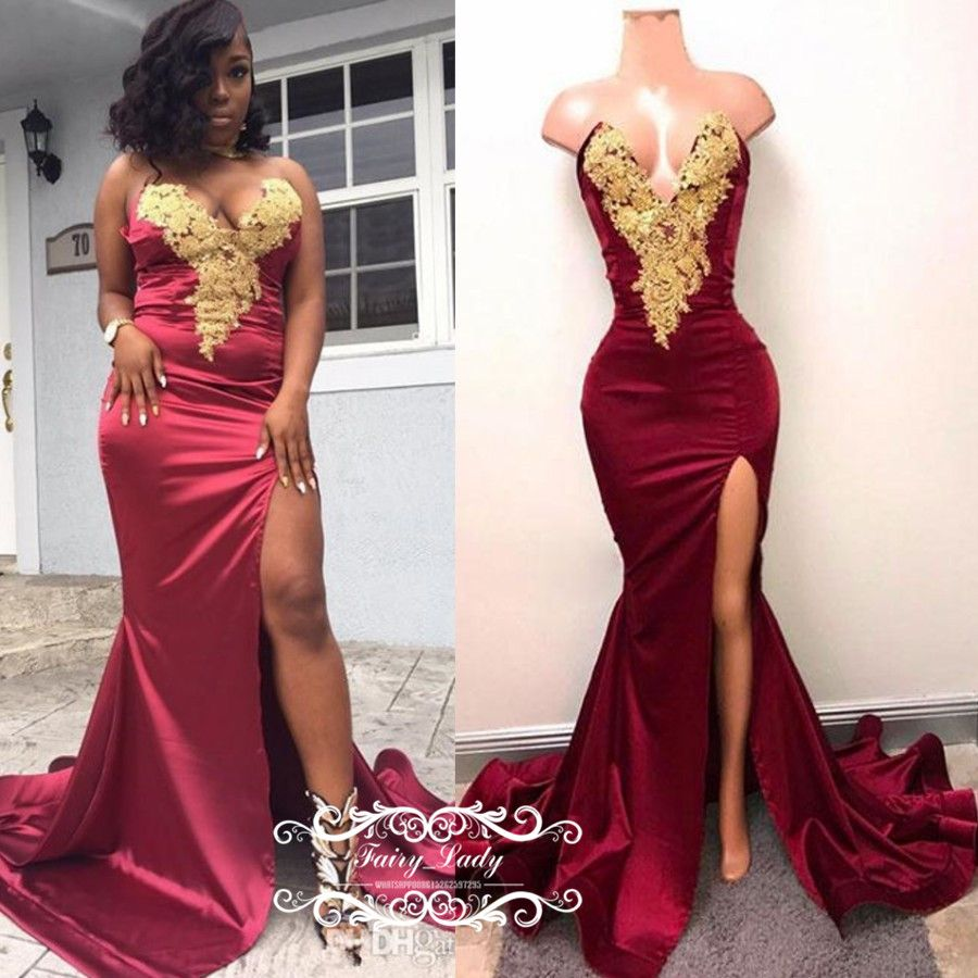 Chic Gold Appliques Mermaid Prom Dresses In Burgundy 2018 African Women  Side Split Long Evening Dress formal Party Gown Vestido Longo defaf2359306