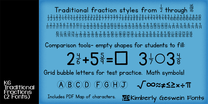 KG Traditional Fractions font (including other useful math worksheet ...