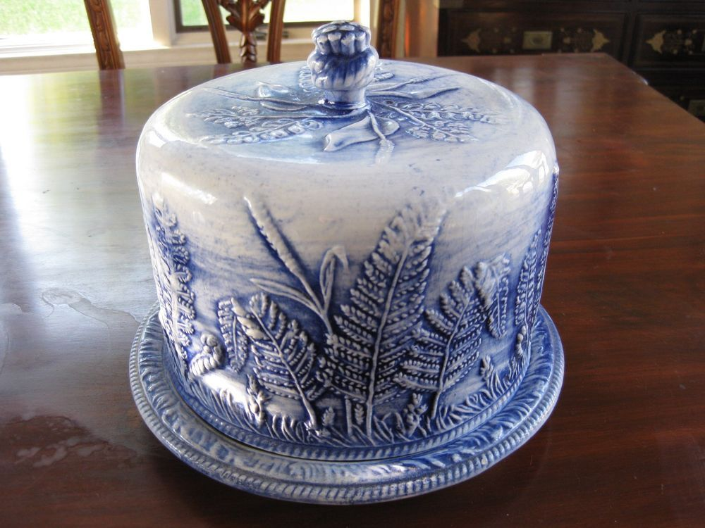 China porcelain · Flow Blue Covered Cake Plate ... & Flow Blue Covered Cake Plate Beautiful Molded Fern Design *Marked ...