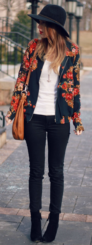 Floral Print Jacket + Black Skinnies
