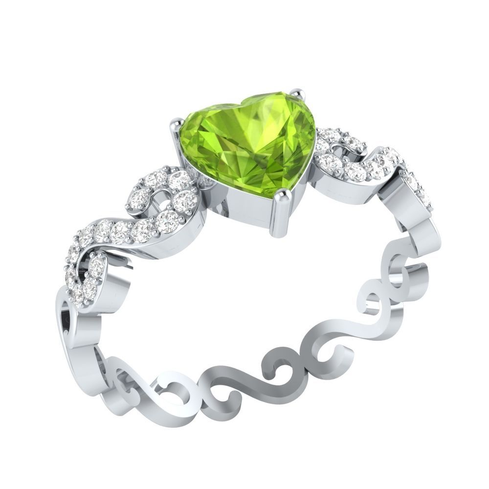 yellow gold rings wedding stone graduated ring peridot image