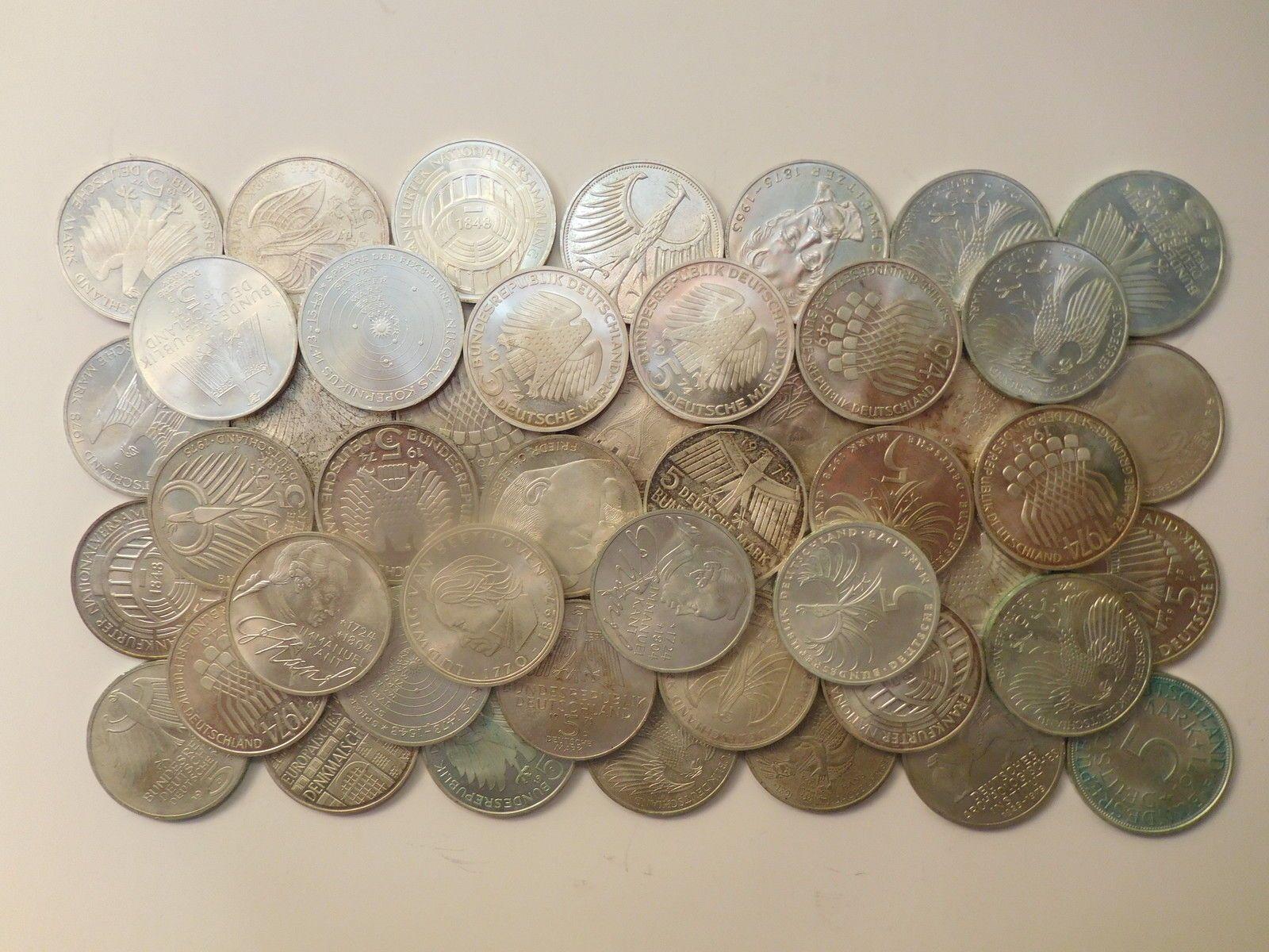 350 Gramm Silber Fein In 50 Mal 5 Dm Münzen Silver Ag Anlagesparen25