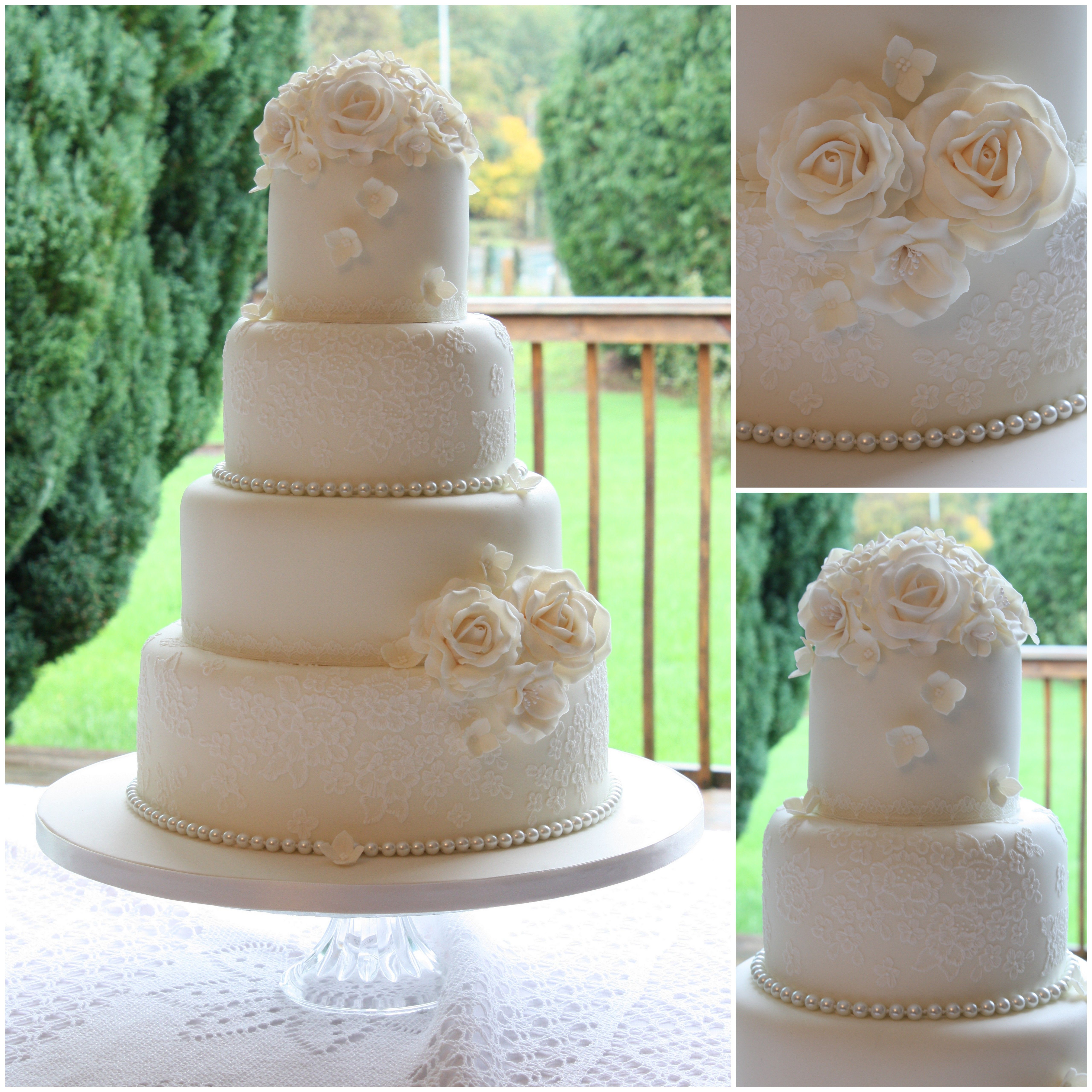 Vintage lace and pearls wedding cake www.facebook.com ...