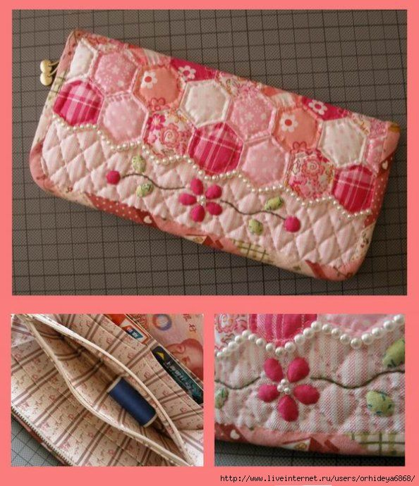 Chinese Hexagon Wallet - Pink Tone with Beads