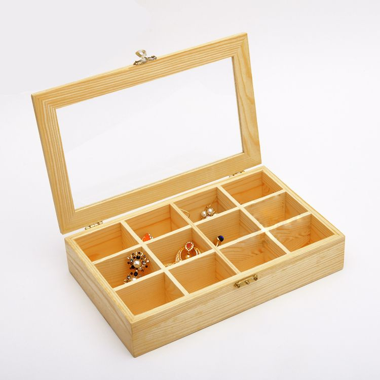 Fashion Wood Jewelry Box Jewelry Display Box Glass Wood Box Wood