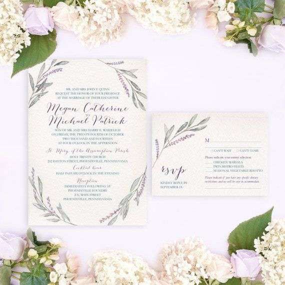Photo of Lavender Wreath Wedding Invitation, Watercolor Wedding Invitation, Rustic wedding invitation, Backyard wedding invitation, Lovely wedding