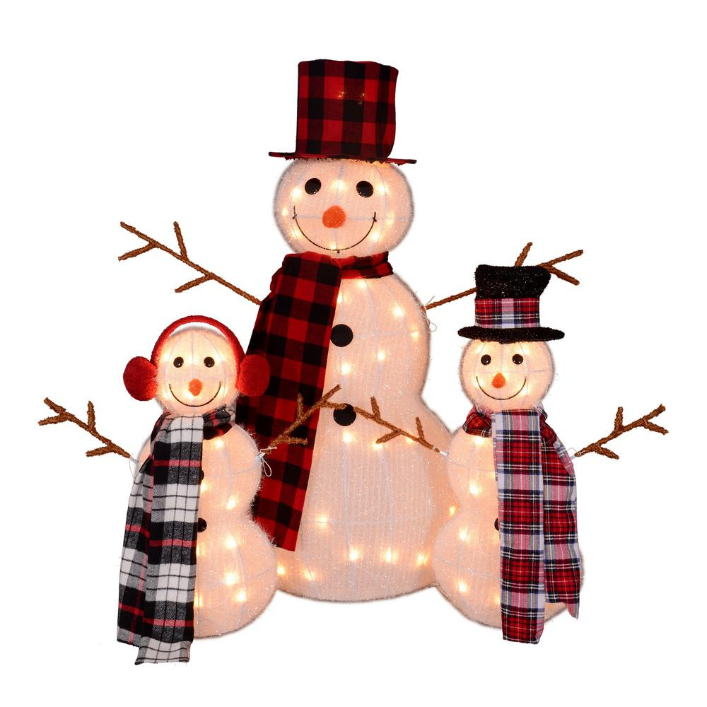 Northlight 35 In Christmas Outdoor Decorations Lighted Tinsel Snowman Family 3 Pack 32606583 Outdoor Christmas Decorations Outdoor Christmas Outdoor Snowman