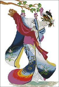 grafico punto de cruz gratis en pdf para bordar mujer oriental