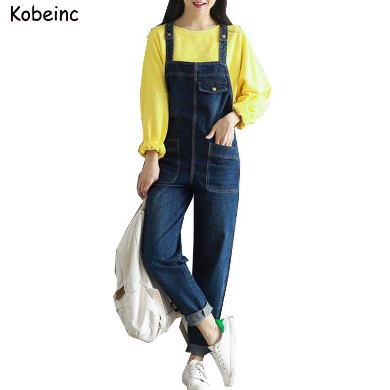 a187d89d45c Vintage Boyfriend Denim Jumpsuits for Women with Large Pockets Jeans  Salopette 2017 Plus Size Female Overalls New Loose Bodysuit
