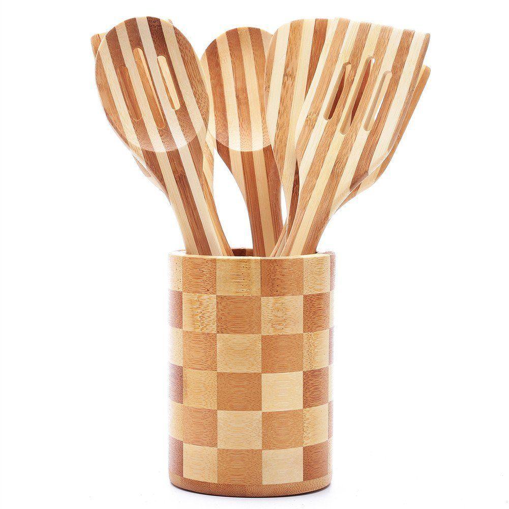 3e Home89 2000 7 Piece Organic Bamboo Wood Cooking Utensil Set