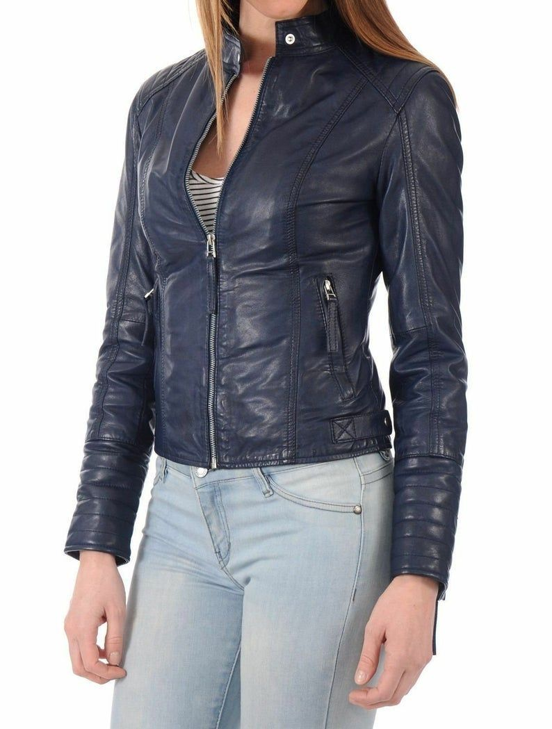 Leather Jacket For Women Biker Jacket Handmade Personalized Genuine Leather Jacket Slim Fit In 2021 Blue Leather Jacket Leather Jackets Women Jackets For Women [ 1049 x 794 Pixel ]