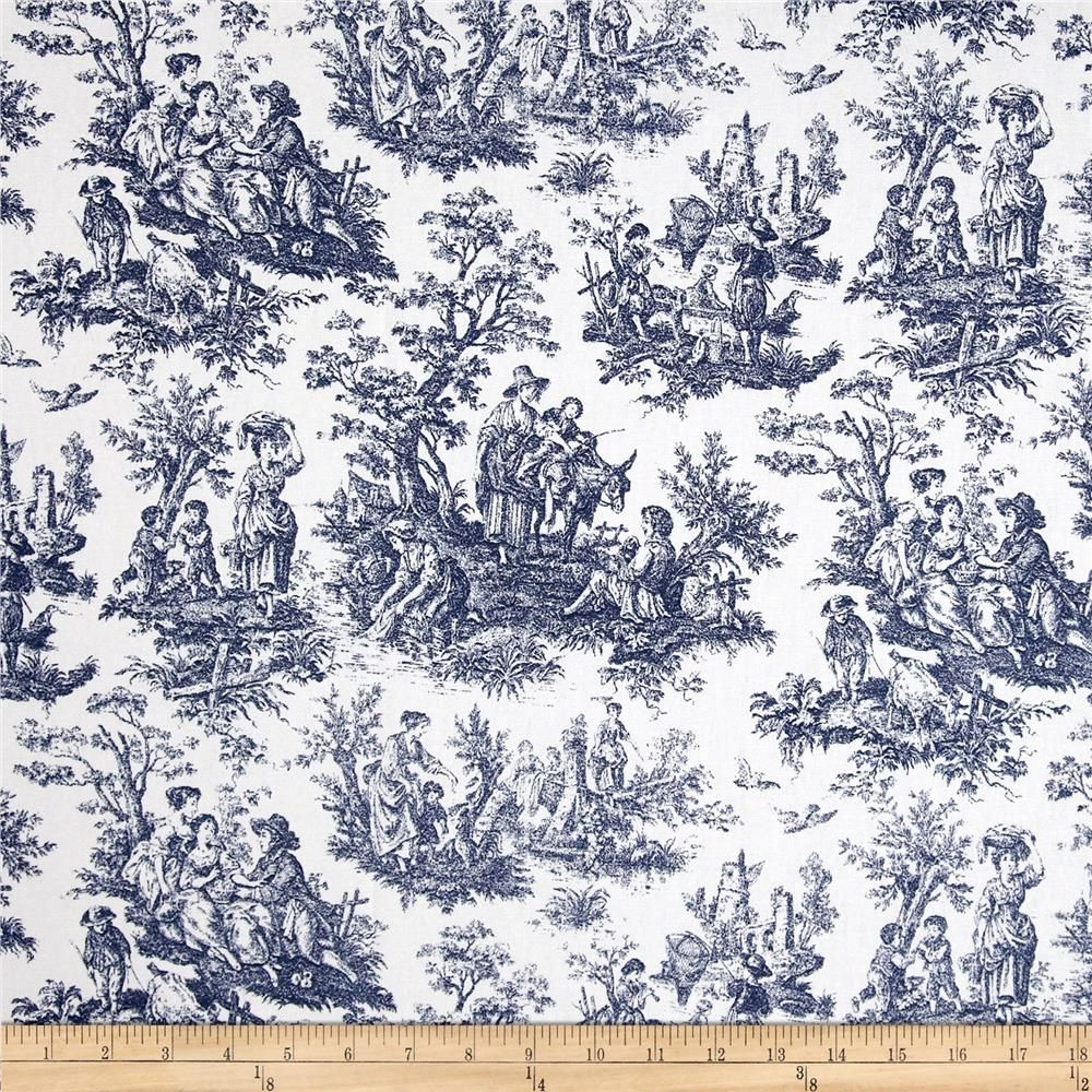French country curtains waverly - Waverly Rustic Life Toile Navy