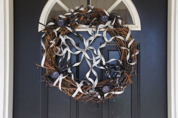 Friendly Spiders Upcycled Wreath by BeyondBottles on Etsy, $30.00