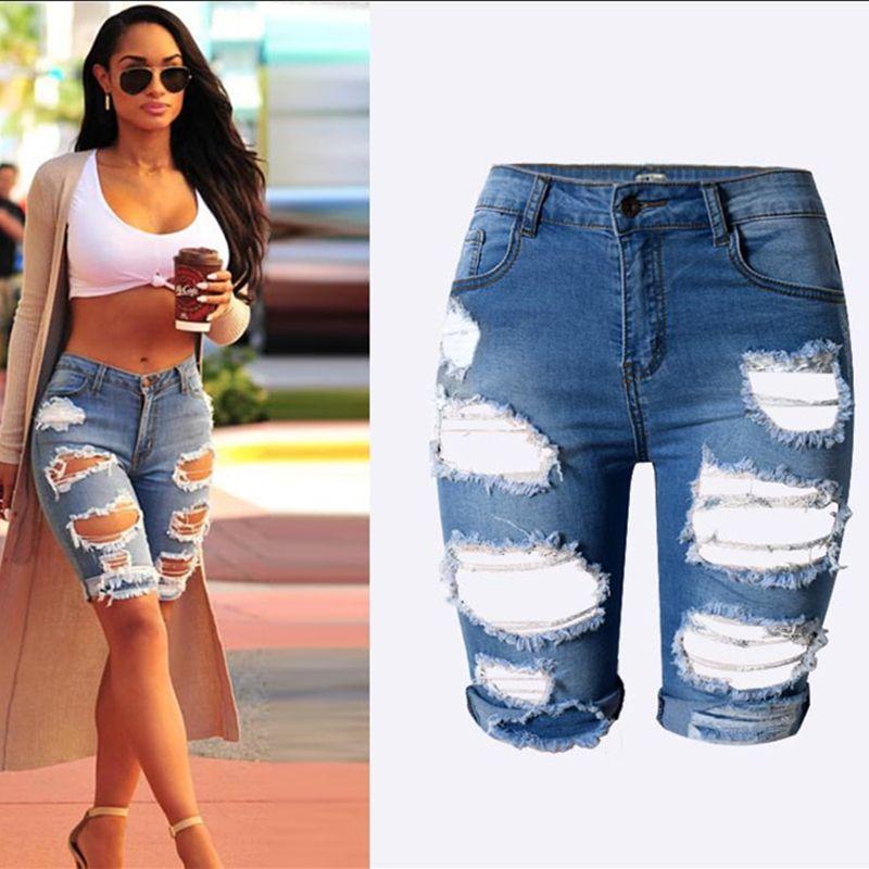 Moda Na Altura Do Joelho Calções calças de brim Do Furo mulher Shorts jeans  rasgados mulheres
