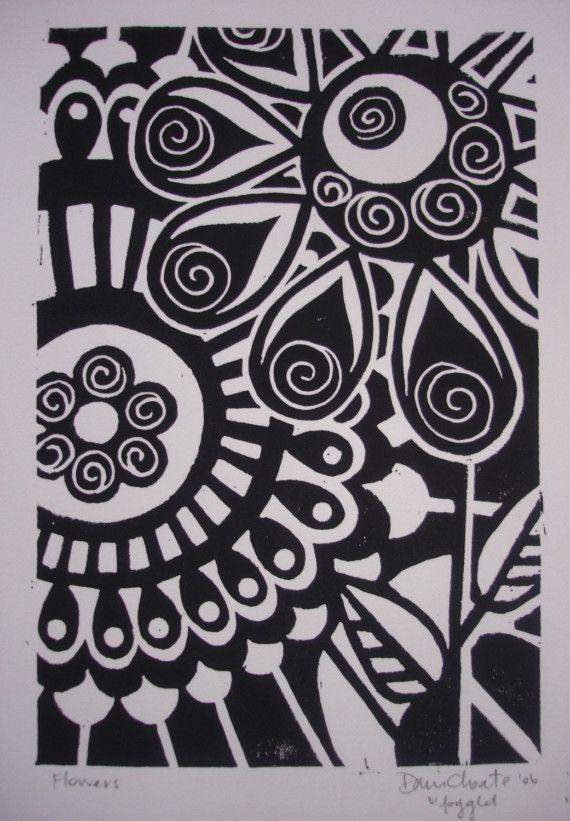 lino flower block print   inspiration: printmaking   pinterest