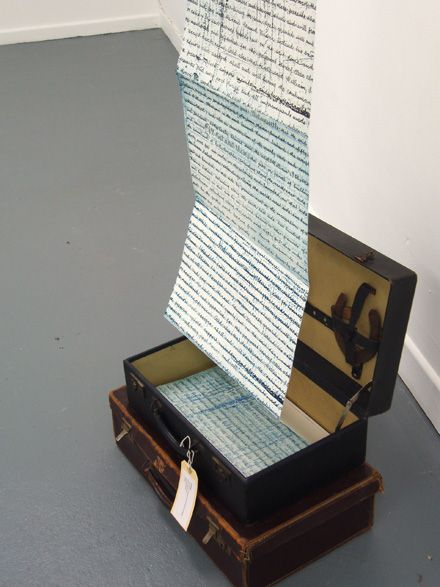 Jill McKeon: Lease  Assemblage containing intaglio accordion format artist's book and horseshoes in suitcase