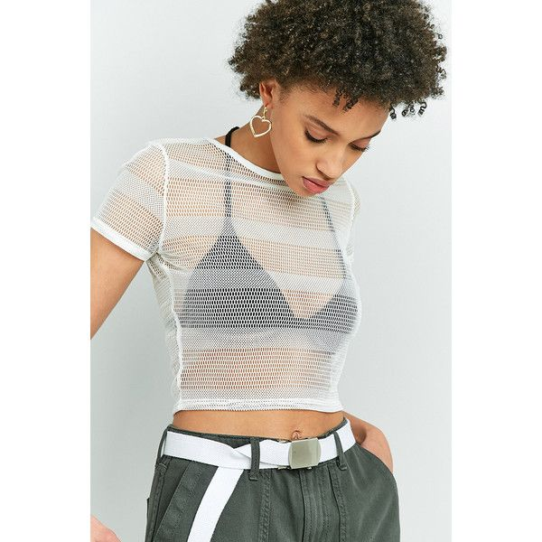 85485d341dbd8 Light Before Dark Striped Fishnet Top ( 27) ❤ liked on Polyvore featuring  tops