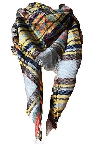 Wander Agio Womens Warm Long Shawl Wraps Large Scarves Knit Cashmere Feel Plaid Triangle S