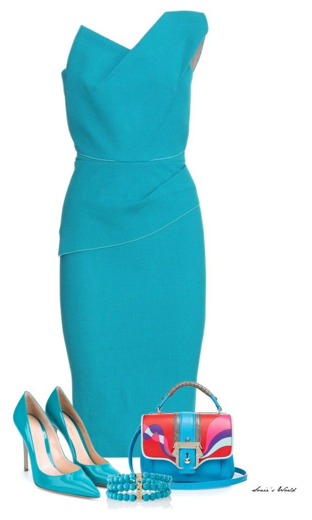 """Turquoise"" by sonies-world on Polyvore featuring Roland Mouret, Paula Cademartori, Gianvito Rossi and Julia Failey"