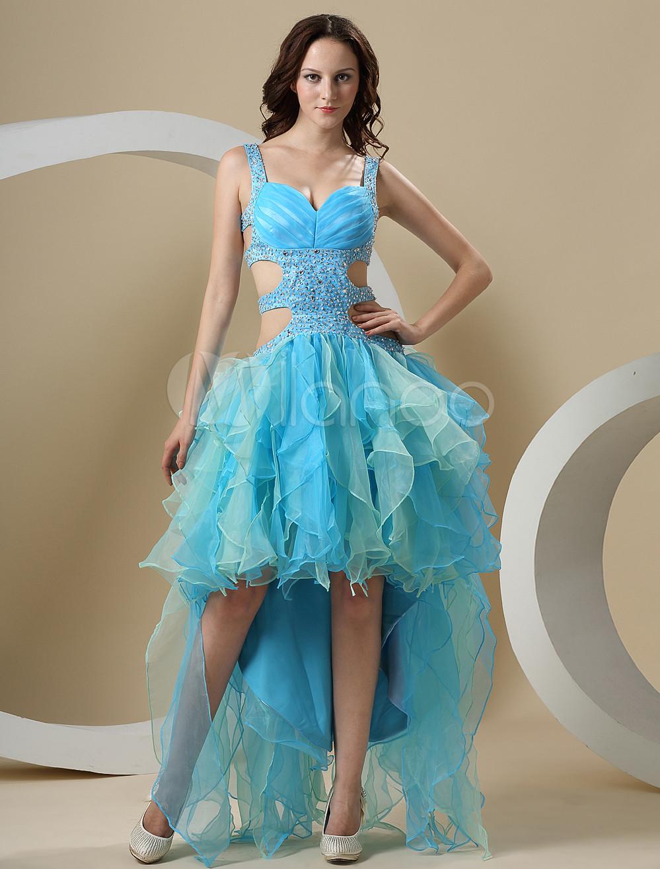 Milanoo ltd prom dresses blue long back short front a
